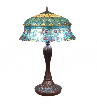 Lampe Tiffany avec un vitrail rococo - Lampes Tiffany -