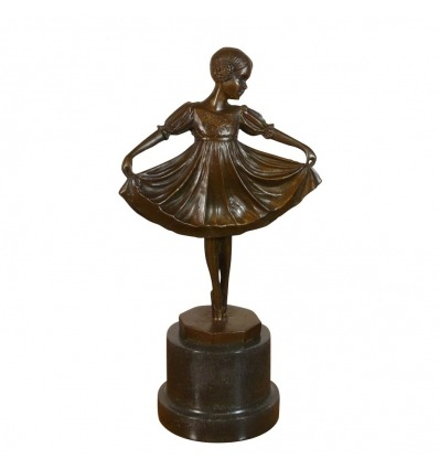 Statue en bronze d'une jeune danseuse - Sculptures art déco -