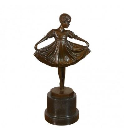 Statua in bronzo di un giovane ballerino - Sculture in stile art deco -