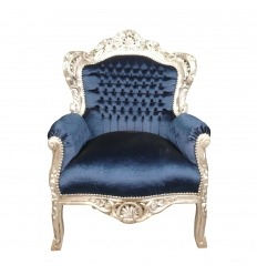 Baroque armchair in blue velvet