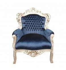 Fauteuil baroque en velours bleu