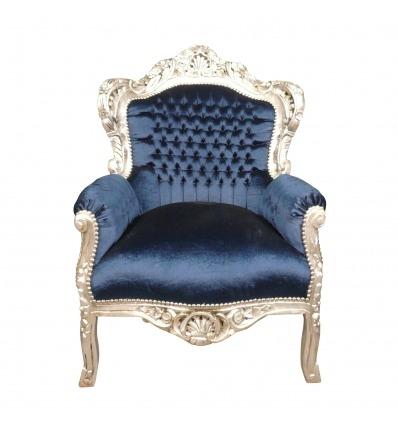 Barocker Sessel aus blauem Samt