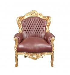Fauteuil baroque marron