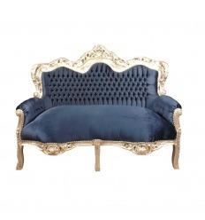 Canapé baroque 2 places bleu