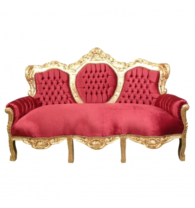 Canapé baroque rouge Madrid - Meubles baroque