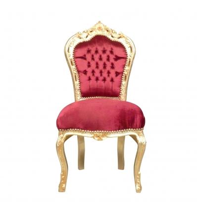 Chaise baroque en velours rouge bois doré