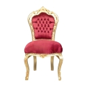 Chaise baroque en velours rouge pas chère
