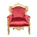 Barocker Sessel aus rotem Samt - Royal Barocksessel -