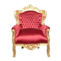 Sillón barroco en terciopelo rojo Madrid - Sillón barroco real -