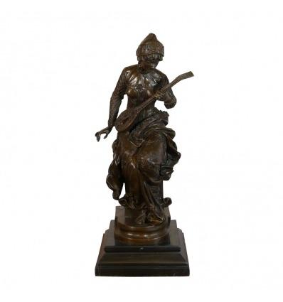 Scultura in bronzo - Il giocatore di un liuto - Statua di un musicista -