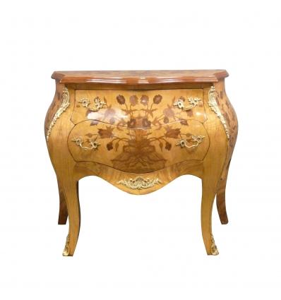 Louis XV KOMMODEN med blommor inlaga - Louis XV Toalettstol -