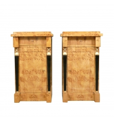 Pair of Empire bedside tables in Elm Magnifier