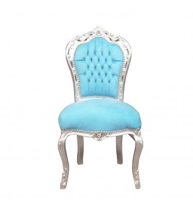 Modrý barokní křeslo-levný dřevěný nábytek -