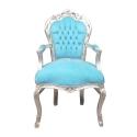 Fauteuil baroque bleu - Magasin de meubles pas cher baroque -