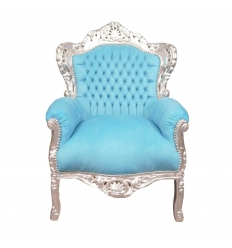 Baroque armchair sky blue and silver wood