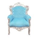 Fauteuil baroque bleu ciel et bois argent - Chaises -