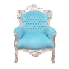 Baroque armchair sky blue and silver wood - Chairs -