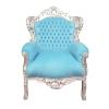 Poltrona barroco céu azul de madeira e prata - Sol -