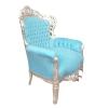 Barock Sessel Himmelblau und Silber Holz - Stühle -