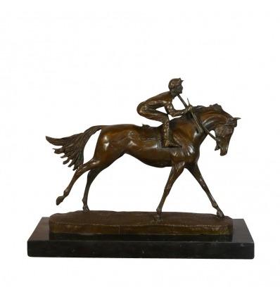 Beeld brons Jockey Sculpturen, paardensport -