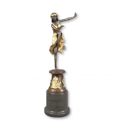 Bronze-Statue af en danser i art deco-stil -