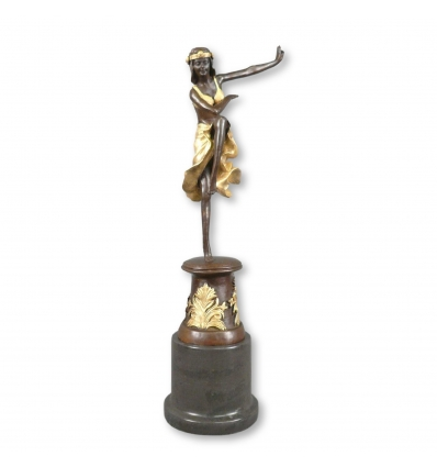 Estatua de bronce de una bailarina de estilo art deco. -