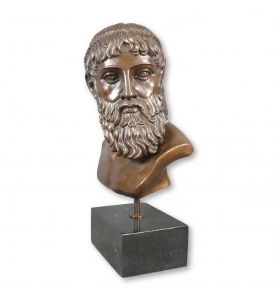 Sculpture en bronze du buste de Zeus - statue de la mythologie Grecque -