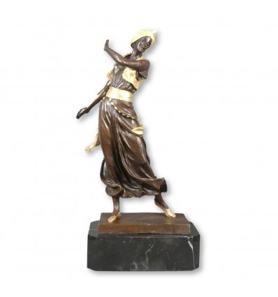 Statue bronze orientaliste d'une danseuse orientale - Figurine bronze