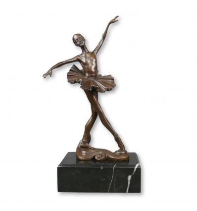 Estatua de bronce de una joven bailarina - Escultura con dos pátinas. -