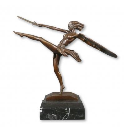 Art deco estatua de bronce