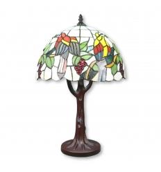 Lámpara de árboles y pájaros Tiffany