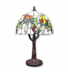 Tiffany-lamp, boom en vogels