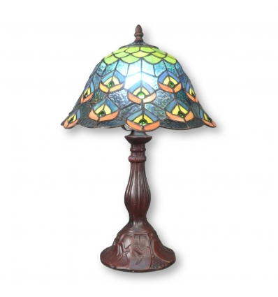 Lámpara de pavo real de tiffany