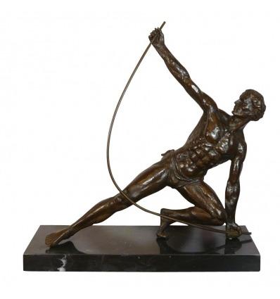 Il Bendeur - Scultura art deco di bronzo dopo il lavoro di J. de Roncourt -
