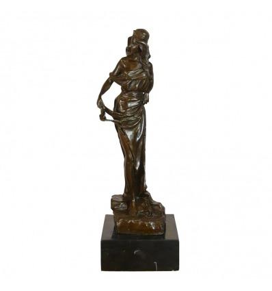Sculpture en bronze femme déesse grecque ou romaine - Statue bronze