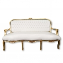 Louis XV gray satin sofa