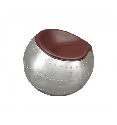 Pouf ball aviateur acajou brun - fauteuil aviateur ball