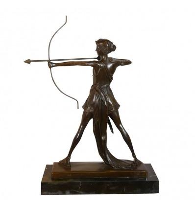 Scultura in bronzo della Dea Artemide - Statua greca -