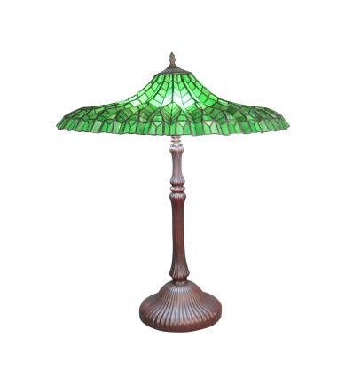 Lampe Tiffany Lotus verte - lampes Tiffany