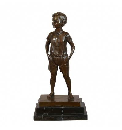 Bronze statue of a boy in shorts