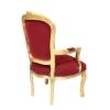 Barokk vörös és arany Louis XV-fotel