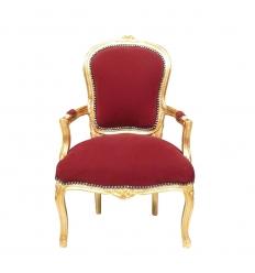 Fauteuil Louis XV bordeaux