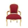 Luís XV poltrona barroco vermelho e ouro