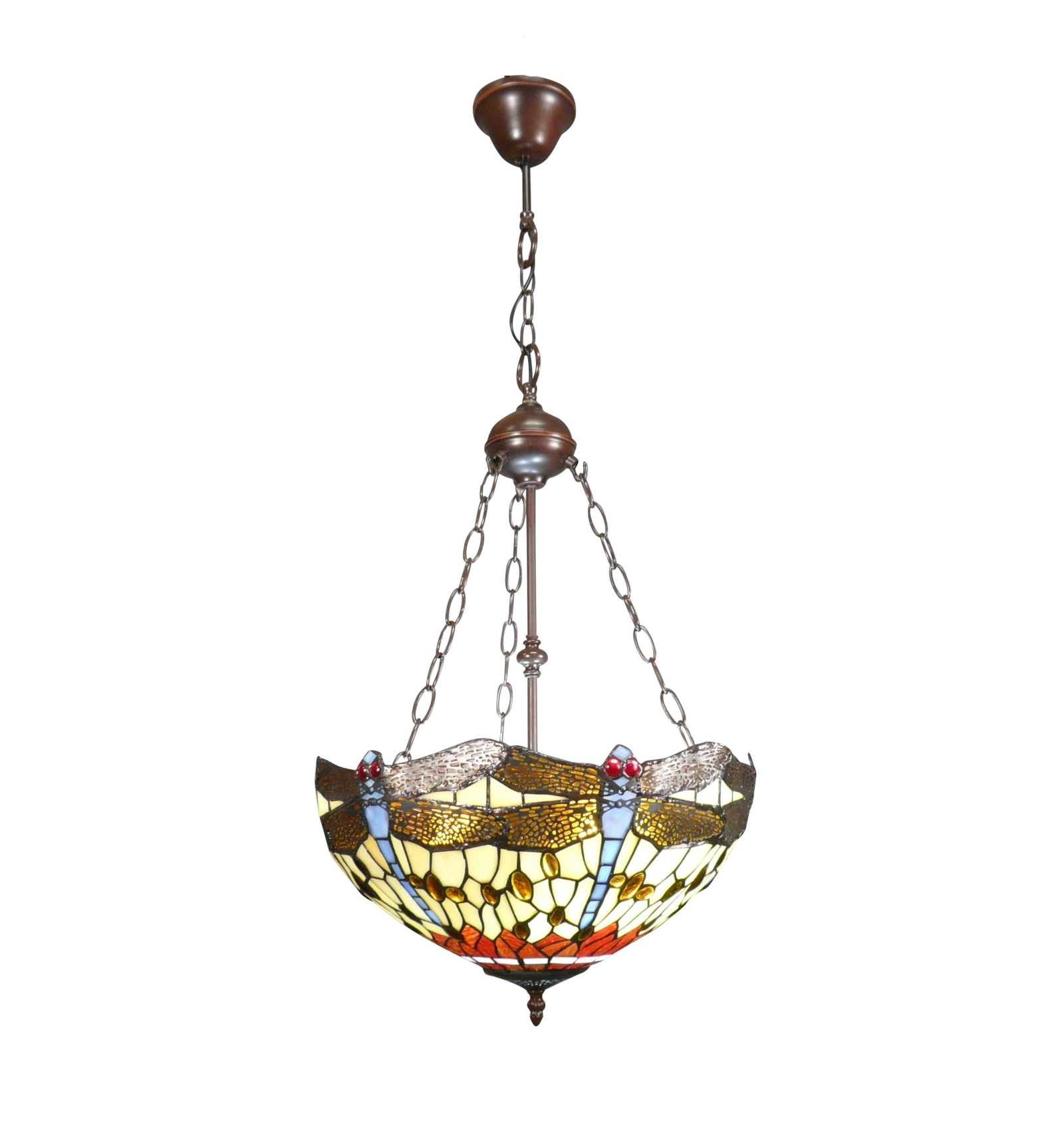 Dragonfly Inverted Tiffany Ceiling Light Birmingham Tiffany Lamps