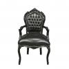 Fauteuil baroque noir en PVC - Meuble rococo