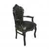 Fauteuil noir brillant baroque en PVC