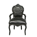 Fauteuil baroque noir en PVC