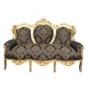 Canapé baroque en bois doré et tissu noir fleuri