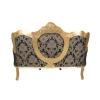 Canapé baroque de salon en bois doré et tissu noir fleuri