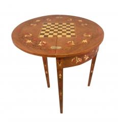 Table demi-lune Louis XVI jeux d'échecs